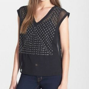 Black Sheer Beaded Search for Sanity brand top